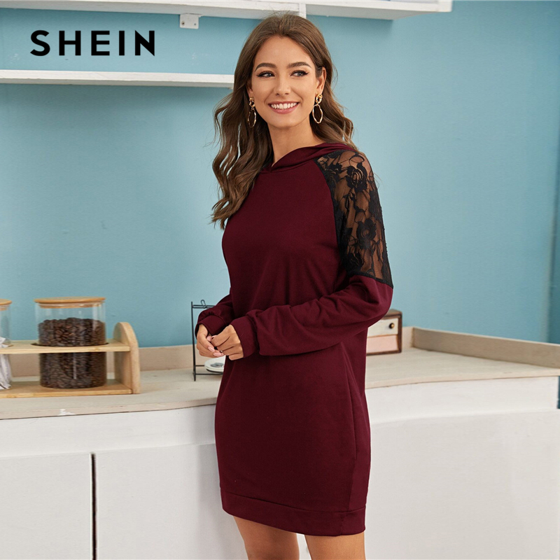 SHEIN Contrast Lace Casual Hooded Sweatshirt Dress Womens Clothing Spring Streetwear Solid Long Sleeve Ladies Short Dresses SHEIN Women Women's Clothings Women's Shein Collection cb5feb1b7314637725a2e7: Burgundy|black