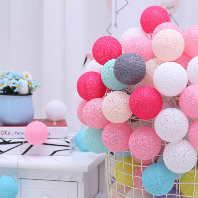 QYJSD USB Battery Garland String Light Cotton Ball Christmas New Year Holiday Baby Bed Fairy Wedding Party Lights Indoor Decor