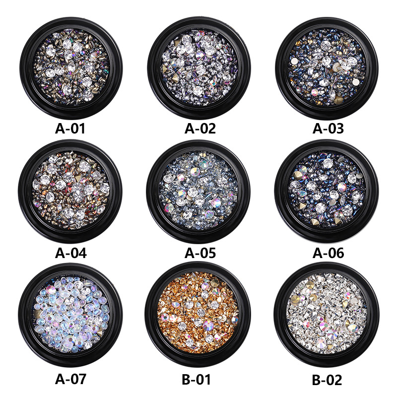 1 коробка красочные 3D Стразы для дизайна ногтей DIY маникюр Шарм хрустальные камни драгоценные камни бриллианты украшения для ногтей 8 видов