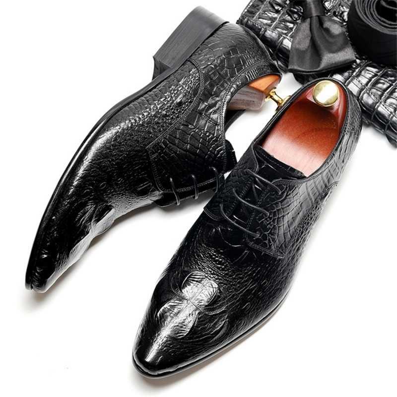 Mens נעליים רשמיות עור אמיתי זכר אוקספורד 2020 חדש מחודדת הבוהן בריטי גברים שמלת חתונה לשרוך את נעלי משרד נעליים