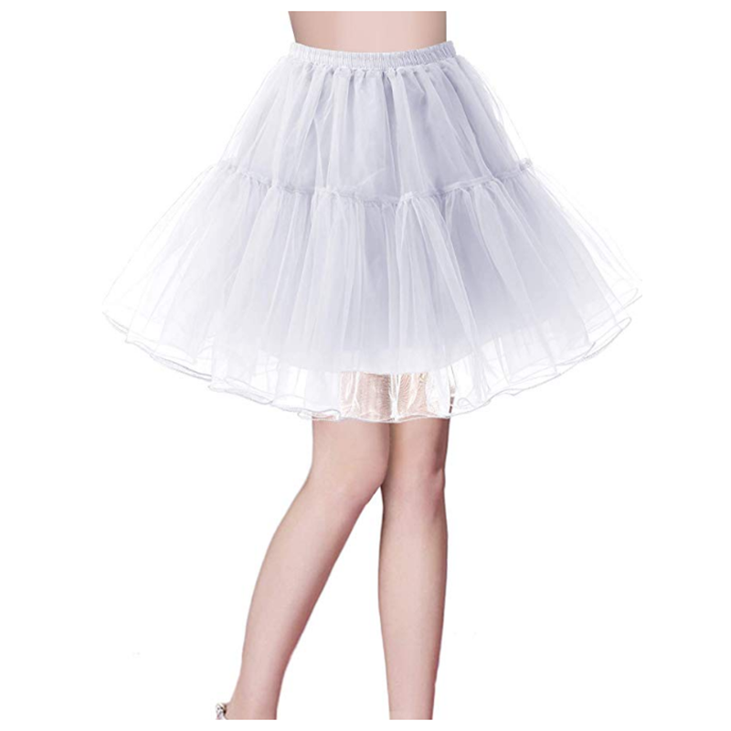 Top Quality Stock White Ballet Petticoat Tulle Ruffle Short Crinoline Bridal Petticoats Lady Girls Underskirt Plus Size