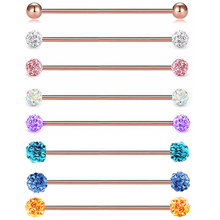 Bola de cristal 14g, piercing industrial, aço cirúrgico, jóias, joia de cartilagem, brinco, hélix, joia de piercing corporal