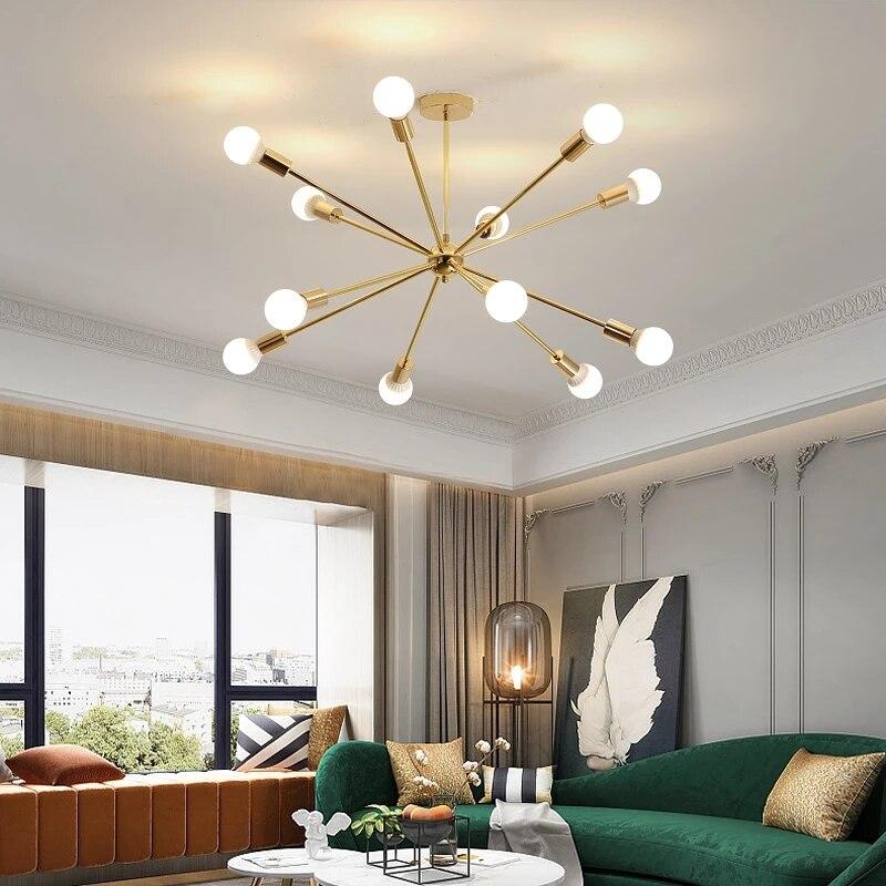 Nórdico Moderno levou luzes do candelabro de teto parágrafo sala estar quarto sala de jantar estudo corpo ouro preto lustres luminárias