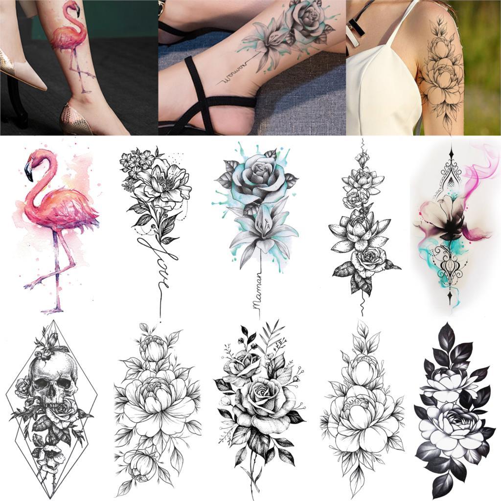 Flamingo Birds Temporary Tattoos Vivid Waterproof Flower Tattoo Stickers Paste For Female Rose Blossom Sexy Tatoo Paste