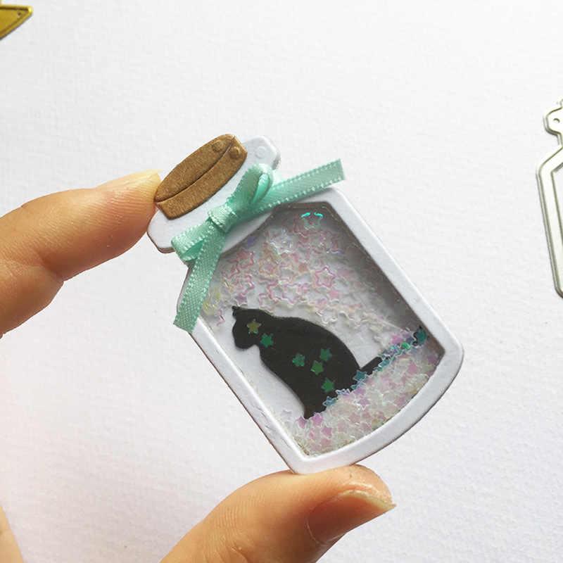 Ferraille réservation souhaitant bouteille métal découpe matrices nouveau artisanat coupe cadre gaufrage timbres pochoir papier Shaker carte faisant 2 Styles