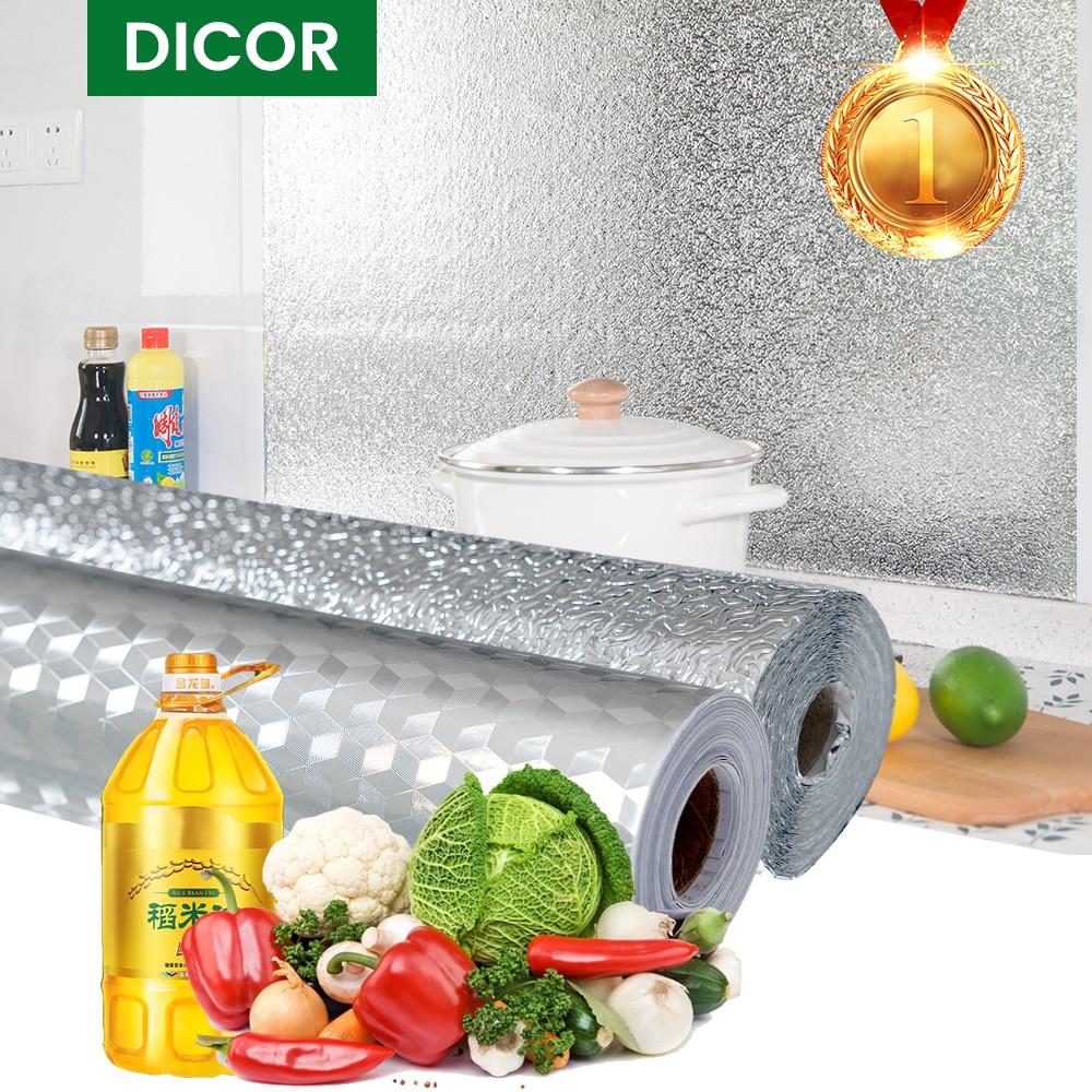 Kitchen Oil Proof Wall Stickers Self-Adhesive Foil Waterproof Aluminum Wallpaper