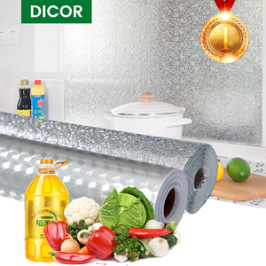 Image 1 - Multi Size Kitchen Oil proof Waterproof Stickers Aluminum Foil Kitchen Stove Cabinet Self Adhesive Wall Sticker DIY Wallpaper