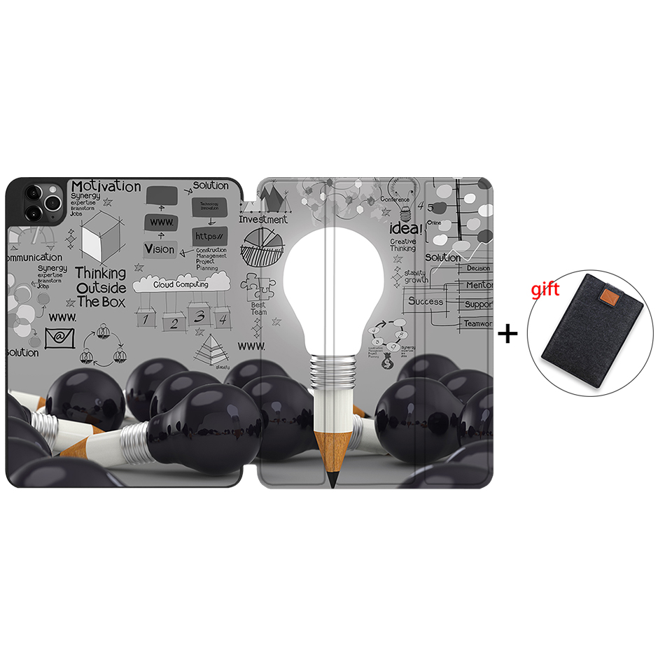 IPTPU10 Beige MTT Case For iPad Pro 12 9 inch 4th Generation Tablet 2020 Soft TPU PU Leather