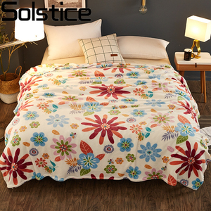 Solstice Home Textile High Quality Leaf Style Winter Warm Comfortable Blanket Throw On Sofa/bed Sheet Travel Portable Blanket(China)