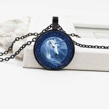 New retro white horse unicorn crystal glass pendant necklace popular alloy jewelry