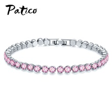 925 Sterling Silver Sparkling AAA Cubic Zirconia Bracelets Chain Friendship For Women Luxury Jewelry Accesorios Mujer
