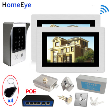 SIP Wifi Video Door Phone Video Doorbell Intercom Access Control System+Electronic Lock+Power Control Box+Open Switch+POE Switch цена 2017