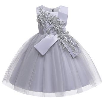 цена на New Arrival Girls Tulle Summer Flower Princess Wedding Dress Children Kids Clothing Ball Gown Knee Length Formal Party Dresses