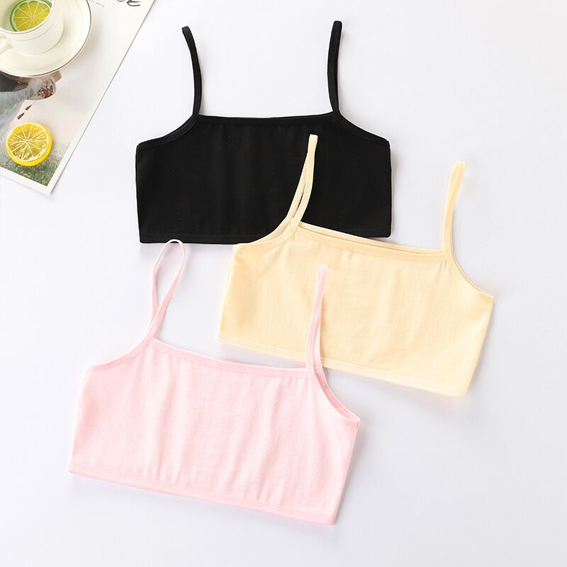 4Pc/lot Girls Bra Underwear Lingerie Kids Teens Teenage Young Adolescente Student Cotton Double Deck Solid Color 8-12Years 3