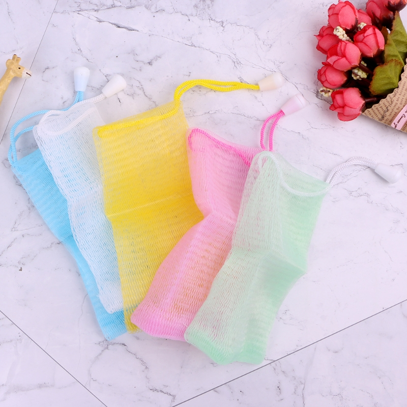 5Pcs Practical Compact Exfoliating Soap Saver Mesh Pouches Bath Shower Bag
