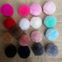 2in/5CM Fake Fur Pom Pom Decorations Diy Faux Fur PomPom Balls Keychain Grey Small Pompon Wool Like Rabbit PomPones Manualidades