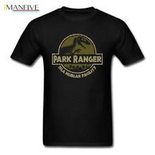 Park T-Rex Ranger T Shirt Jurassic T-shirt Men Summer Clothing Dinosaur Crash Tshirt Cool Cotton Tops Black Tee