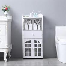 Bathroom Storage Rack Living Room Stand Shelf White Storage Double Door Compartment With Drawer Shelf PVC