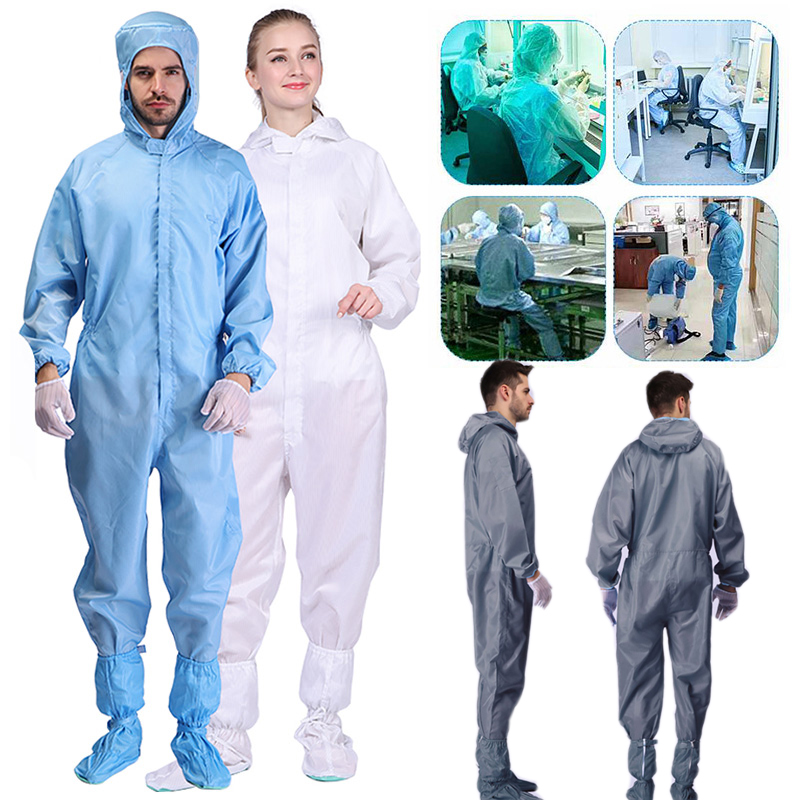 Anti-Static Overalls Hooded Dust-Free Jumpsuit Factory Workshop Male Female Washable Work Clothes Protection Suits Plus Size 4XL