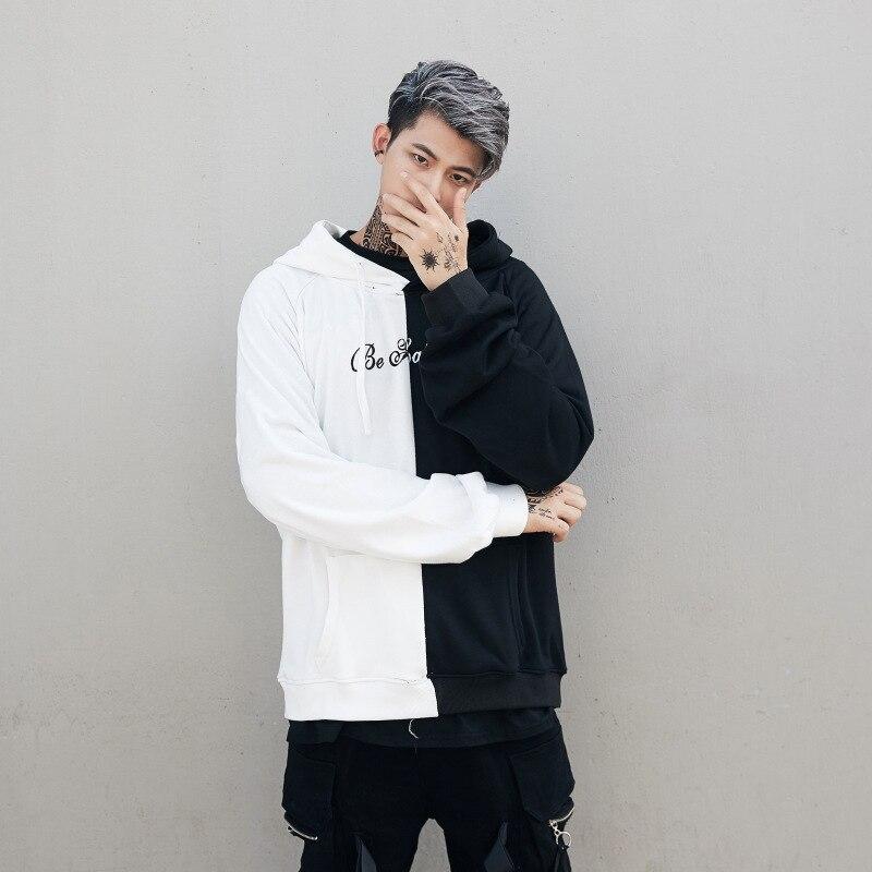Fashion Hoodies Sweatshirts Men Women Color Block Patchwork Smile Print Hoodie Hip Hop Streetswear 2019 Men Clothing  Hip Hop
