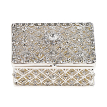 Crystal Rectangle Trinket Box, Jewelry Storage Gift Box for Necklace Earrings Ring Case Holder, Best Gifts for Women Girls