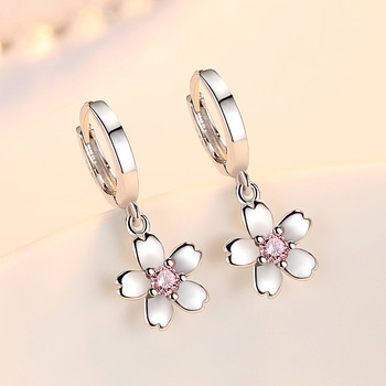 Simple Fashion 925 Sterling Silver Earrings For Women Cute Pink White Zircon Poetic Cherry Blossoms Drop.jpg 350x350 - Cute Pink/White 925 Sterling Silver Earrings For Women