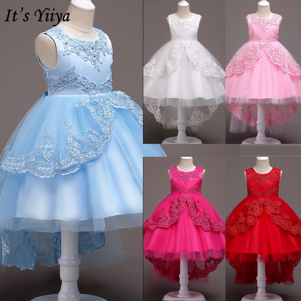It's YiiYa Flower Girl Dresses For Girls Elegant Pageant Communion Dresses Bow Lace Kids Party Gowns Blue White Pink Red 584