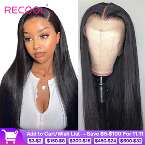 Image 1 - Recool 4X4 Lace Closure Wig Straight Lace Front Human Hair Wigs 200 Density 360 Full Lace Wig 28 30 Inch 13x6 Lace Wig Glueless