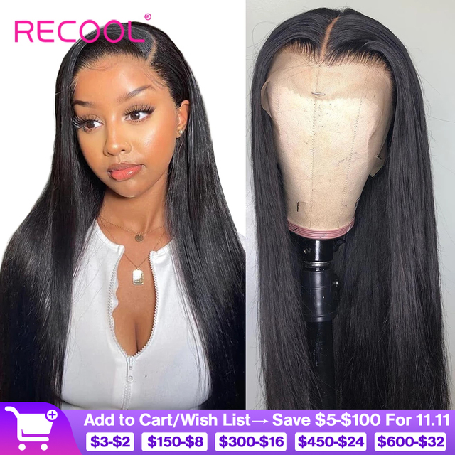 Recool 4X4 Lace Closure Wig Straight Lace Front Human Hair Wigs 200 Density 360 Full Lace Wig 28 30 Inch 13x6 Lace Wig Glueless
