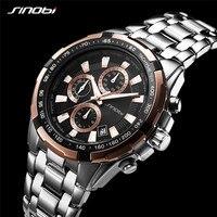 SINOBI 99% Feedback Positivo Chraonograph do Homem de Aço Inoxidável Relógios Dos Homens de Negócios de Quartzo Relógio de Pulso relogio masculino