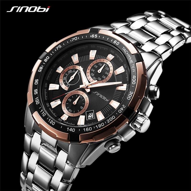 SINOBI 99% Positive Feedback Mens Business Watches Stainless Steel Man Chraonograph Quartz Wristwatches Clock Relogio Masculino
