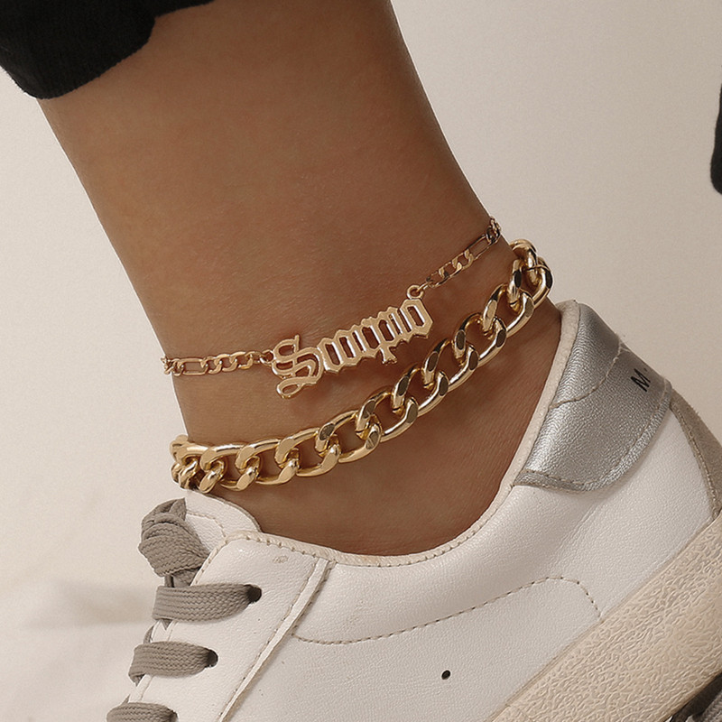 Punk Chunky Figaro Chian Anklets for Women 2020 Gold Silver Color Geometric Letter Alphabet Ankle Bracelet on Leg Foot Jewelry