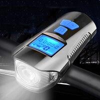 Wasserdichte Fahrrad Licht USB Lade Bike computer Taschenlampe Lenker Radfahren Kopf Licht w/ Horn Geschwindigkeit Meter LCD Bildschirm
