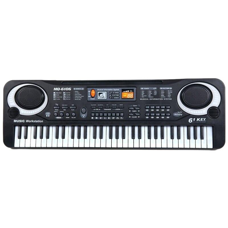 Teclas de Música Órgão para Crianças Multifunções e Delicado Digital Teclado Eletrônico Placa Brinquedo Presente Piano Elétrico 61 Mod. 312474