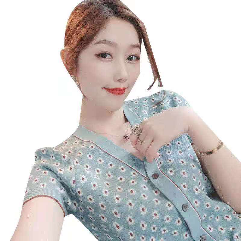 French Cardigan Fresh Color Contrast Printing 2021 Spring And Summer New Retro Knitting Thin Short Sleeve Fashion Versatile
