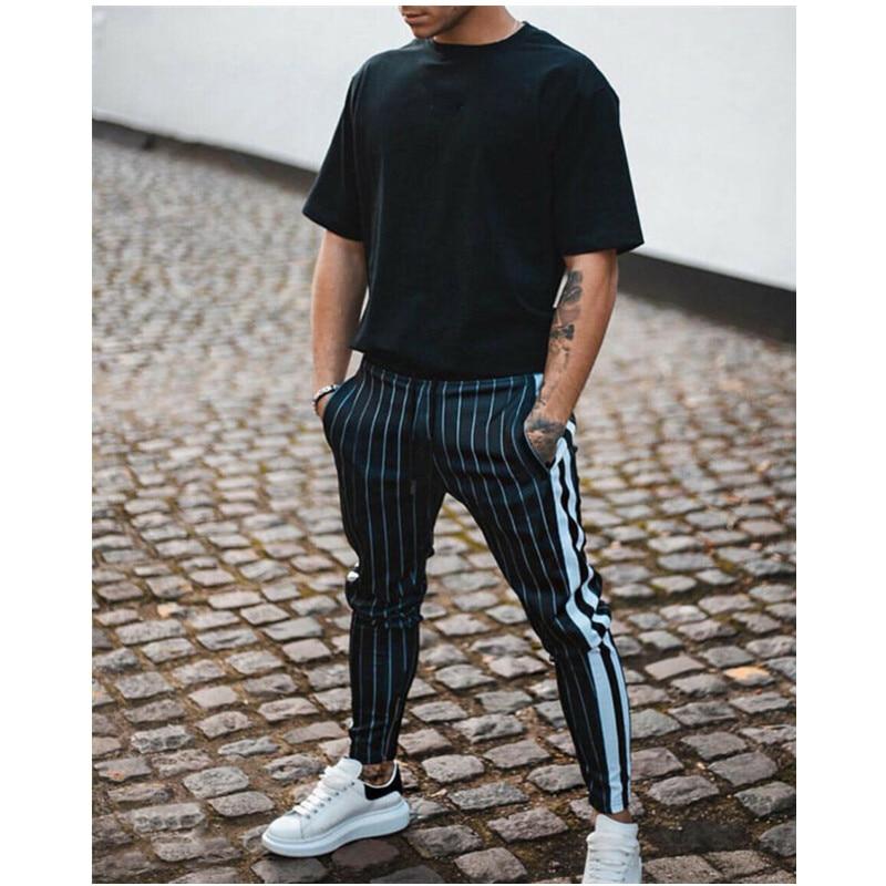 Fasion Men Casual Pencil Pants Basic Gym Sport Clothes Jogger Pant Cotton Active Urban Slim Fit Elastic Hip hop Long Trousers