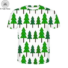 2019 new t shirt boys and girls 3D t shirt Christmas tree t shirt boys and girls Christmas t shirt casual t shirt happy top british style old tree and single wolf pattern t shirt for men m