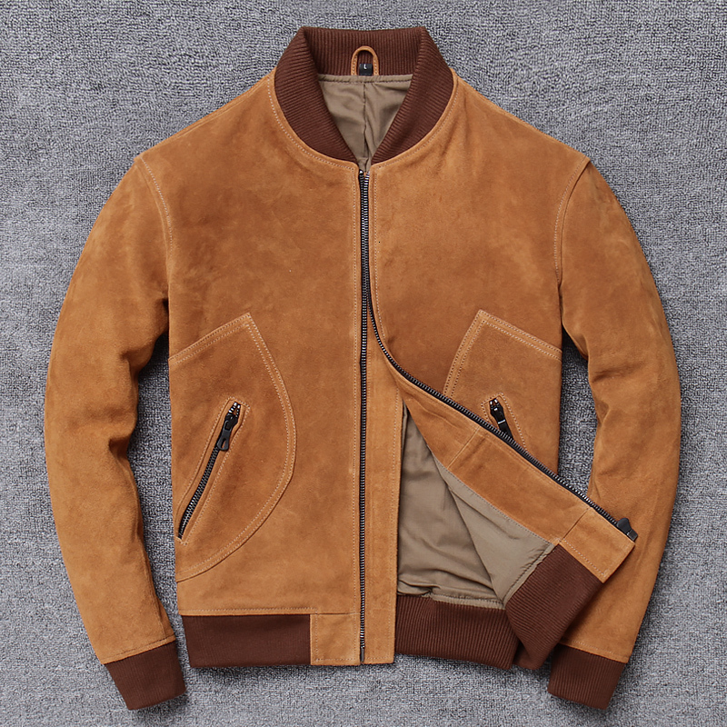 Factory 2020 New Men Vintage Yellow Suede Cowhide   Leather Jacket Men Flight Jacket Genuine Cowskin Slim Fit Jackets M-XXXXL