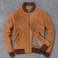 Factory 2020 New Men Vintage Yellow Suede Cowhide leather jacket men flight jacket Genuine cowskin Slim Fit Jackets M XXXXL