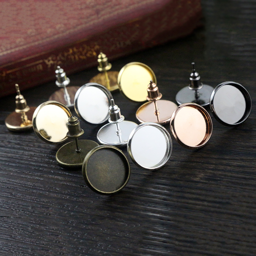 12mm 50pcs 8 Colors Plated High Quality Stainless Iron Earring Studs(with Ear Plug) Base,Fit 12mm Glass Cabochons