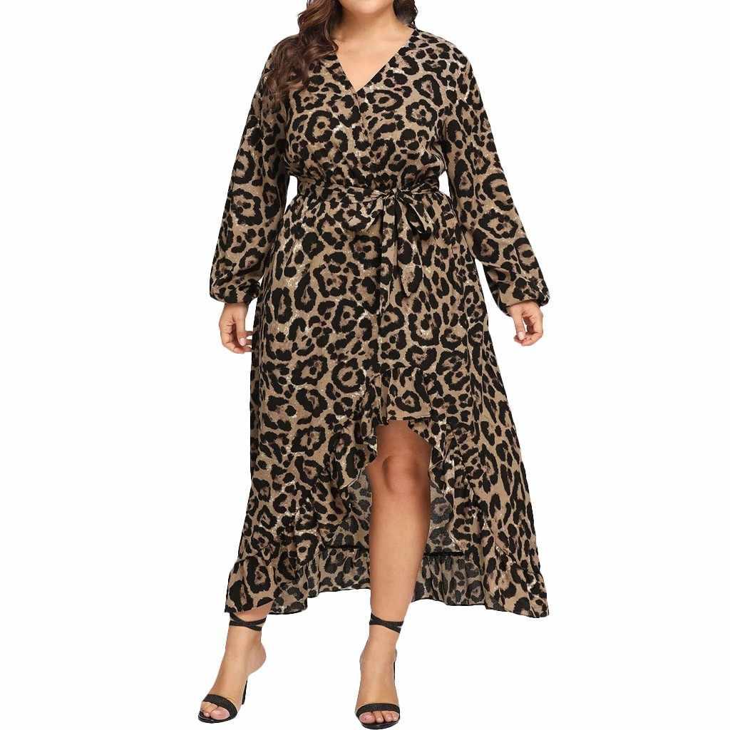 Kobiety Plus rozmiar seksowny wzór w cętki Maxi sukienka jesień pełna rękaw V szyi bandaż wysokiej talii sukienek panie Ruffles Vestidos
