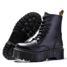 Women Winter Boots Genuine Leather Boots Black Martenss Boots Women Ankle Boots