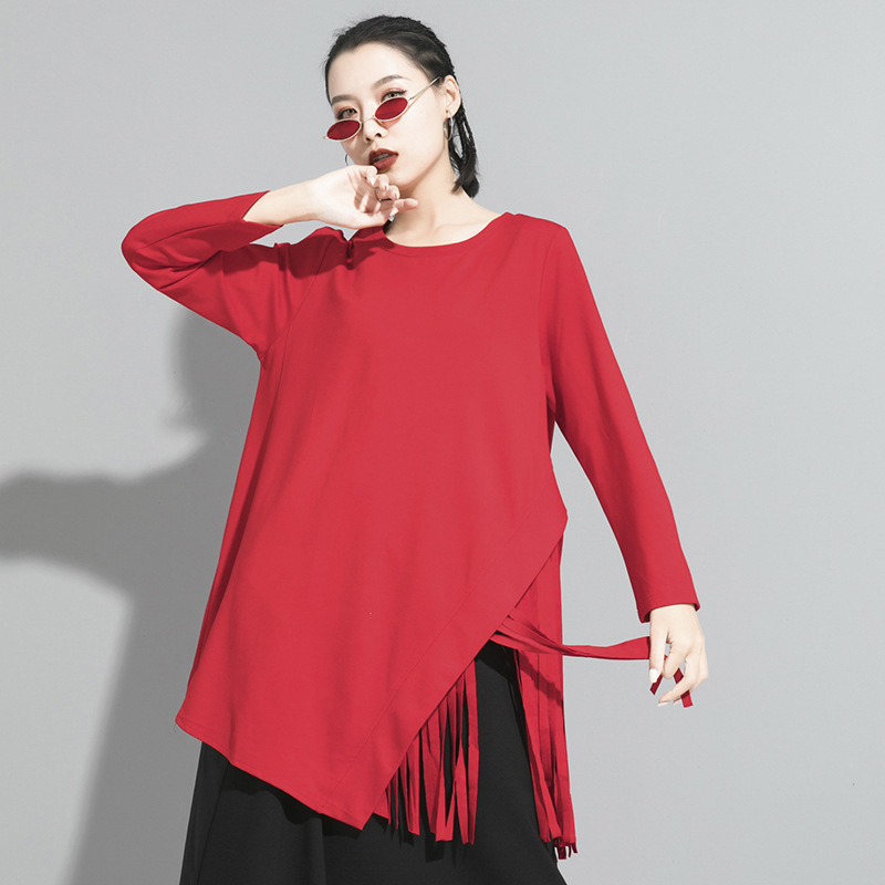 [EAM] Women Black Hem Tassels Stitch Temperament T-shirt New Round Neck Long Sleeve  Fashion Tide  Spring Autumn 2020 1S193
