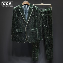 Mens Groom Wedding Velvet Dress Suit Sets Fashion Bling Sequins Blazer Jacket Two Piece Set Business Man Casual Party Suits