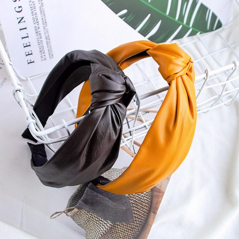 Fashion Womens Bow Knot Hairband Leather Hoop PU Cross Knot Women Head Hoop Glitter Girls Hair Headband Hair Accessories DSFG02