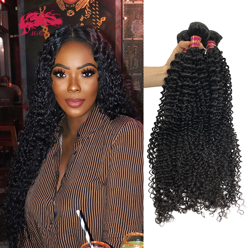 """Ali rainha cabelo mongol afro kinky encaracolado brasileiro cru virgem cabelo tecer pacotes de cor natural 10 """"-28"""" 1/3/4 pces trama do cabelo humano"""