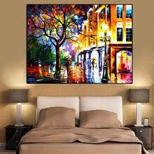 Холст живопись пейзаж плакаты и принты Красочные Улица из масляной живописи дерево настенные картины для гостиной Куадрос домашний декор