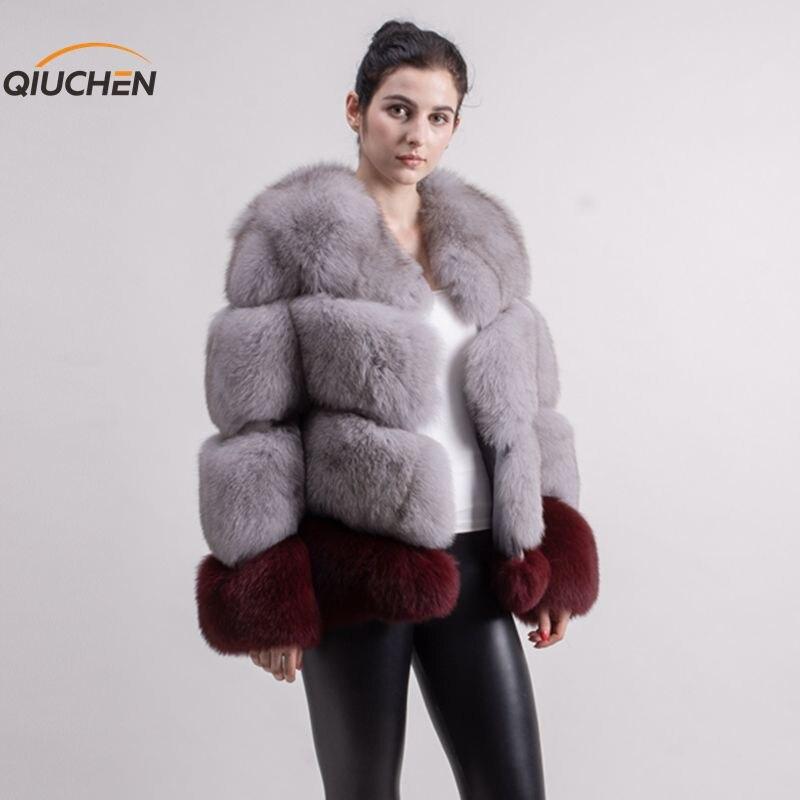 QIUCHEN PJ1818 2019 nouveauté femmes épais moelleux réel manteau de fourrure de renard couleur bloquant en gros peut choisir deux couleurs faire
