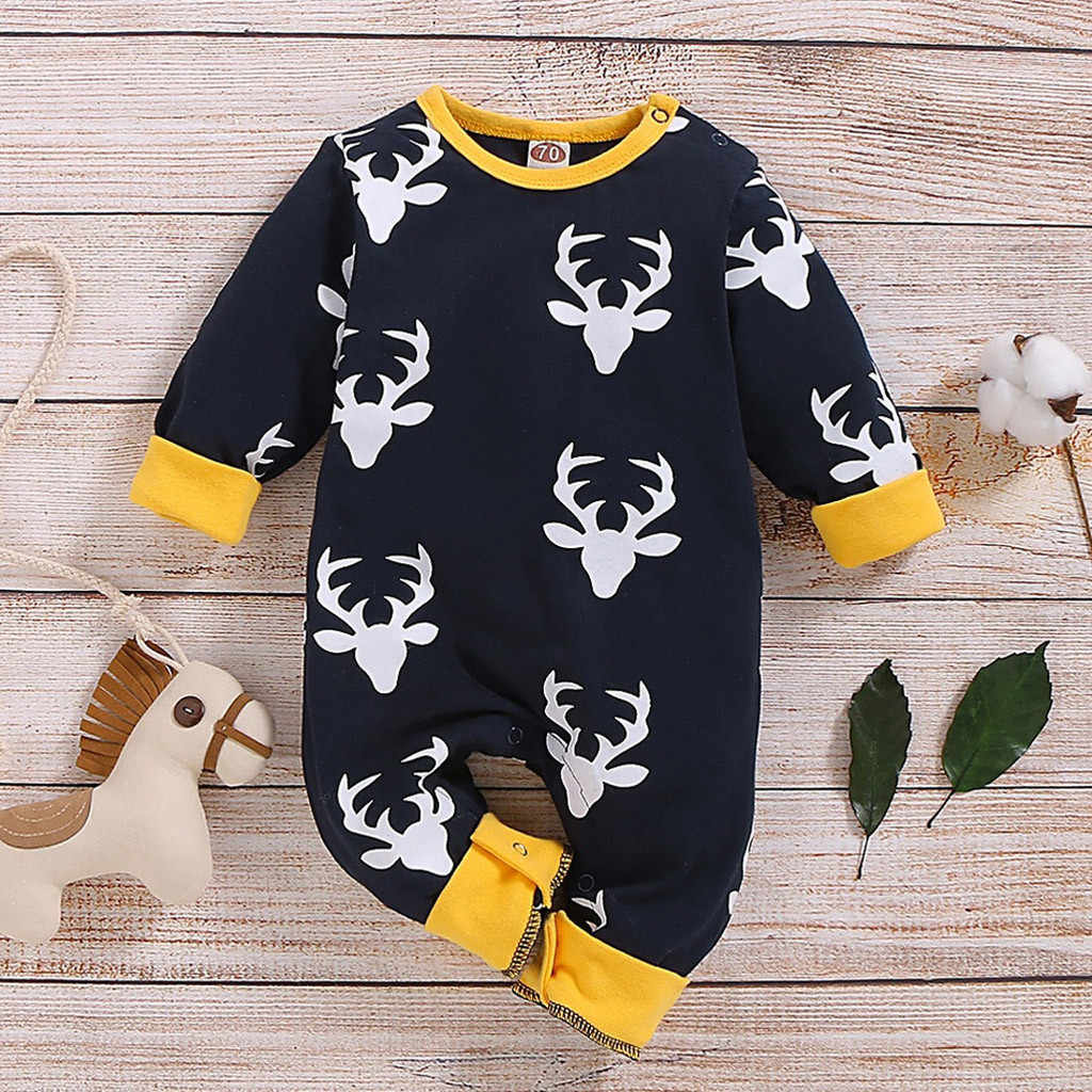 Newborn Infant Baby Boys Girls Christmas Cartoon Deer Romper Jumpsuit Clothes Cotton Comfortable New Born Baby Clothes 0-2y