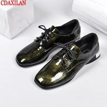 CDAXIALN new arrived womens pumps shoes genuine cow patent leather lace-up square toe autumn witer ladies casual